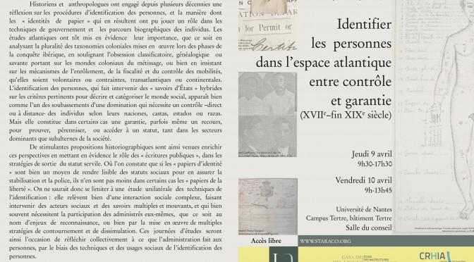 Nantes, JE staraco, Identifier les personnes dans l'espace atlantique, 9-10 avril 2015